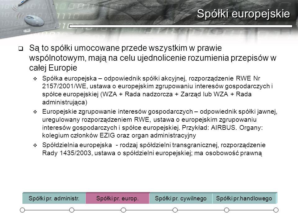 Spółki europejskie Są to spółki umocowane przede wszystkim w prawie wspólnotowym, mają na celu ujednolicenie rozumienia przepisów w całej Europie Spół