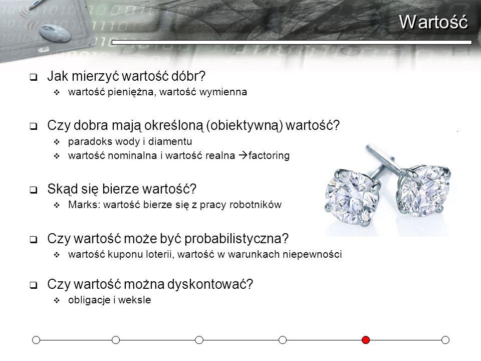Wartość Jak mierzyć wartość dóbr? wartość pieniężna, wartość wymienna Czy dobra mają określoną (obiektywną) wartość? paradoks wody i diamentu wartość