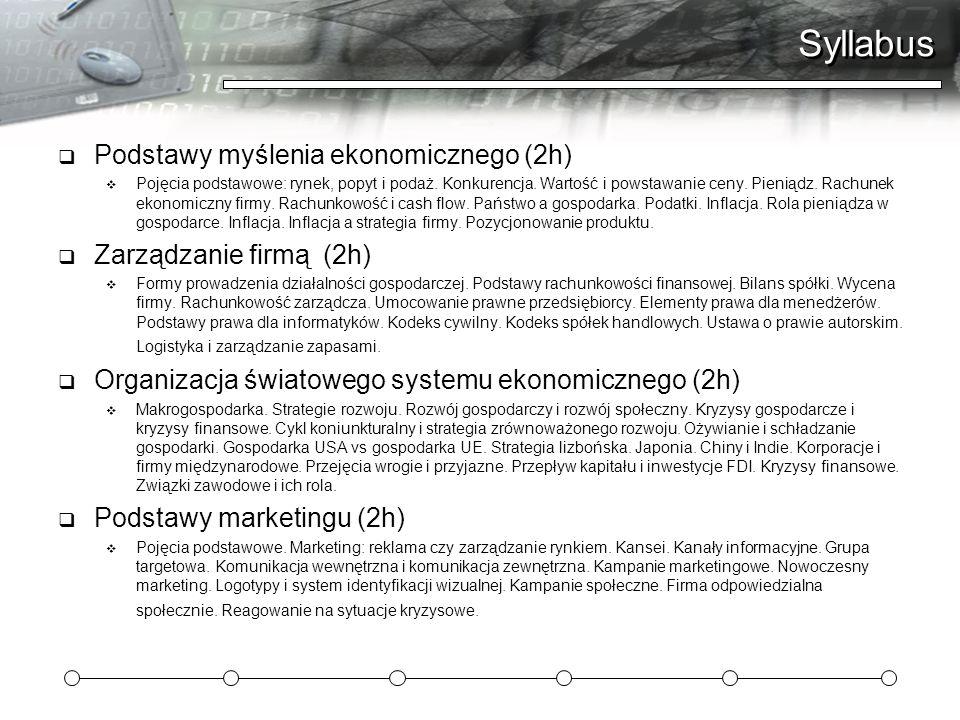 Syllabus Podstawy myślenia ekonomicznego (2h) Pojęcia podstawowe: rynek, popyt i podaż. Konkurencja. Wartość i powstawanie ceny. Pieniądz. Rachunek ek