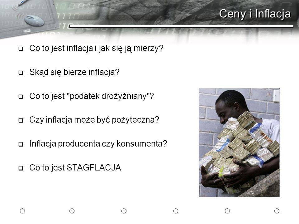 Ceny i Inflacja Co to jest inflacja i jak się ją mierzy? Skąd się bierze inflacja? Co to jest