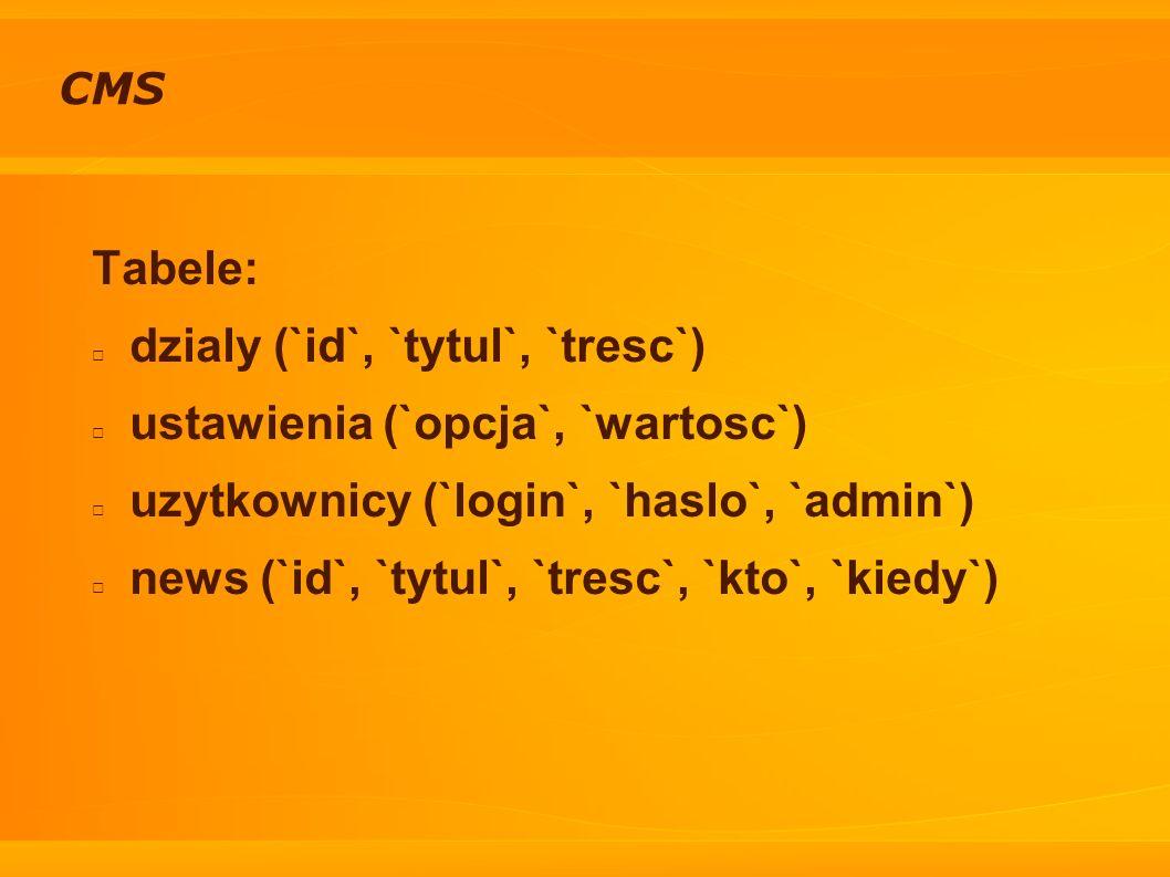 CMS Tabele: dzialy (`id`, `tytul`, `tresc`) ustawienia (`opcja`, `wartosc`) uzytkownicy (`login`, `haslo`, `admin`) news (`id`, `tytul`, `tresc`, `kto