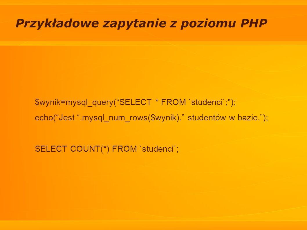Przykładowe zapytanie z poziomu PHP $wynik=mysql_query(SELECT * FROM `studenci`;); echo(Jest.mysql_num_rows($wynik). studentów w bazie.); SELECT COUNT