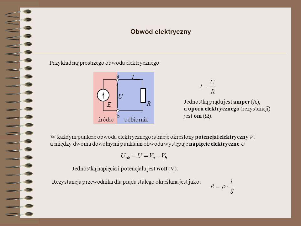 odbiornikźródło Obwód elektryczny Jednostką napięcia i potencjału jest wolt (V).