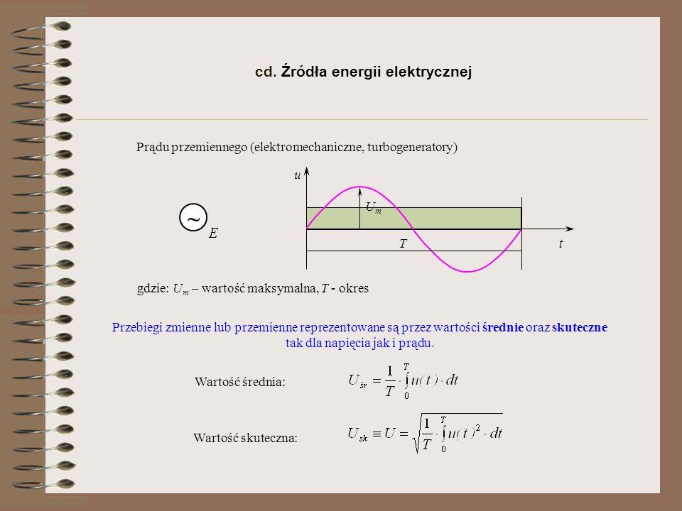 Źródła o przebiegach sinusoidalnych przebieg sinusoidalny gdzie: ω - pulsacja, f - częstotliwość