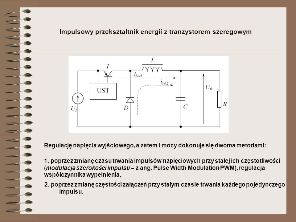 Impulsowy przekształtnik energii z tranzystorem szeregowym Regulację napięcia wyjściowego, a zatem i mocy dokonuje się dwoma metodami: 1. poprzez zmia