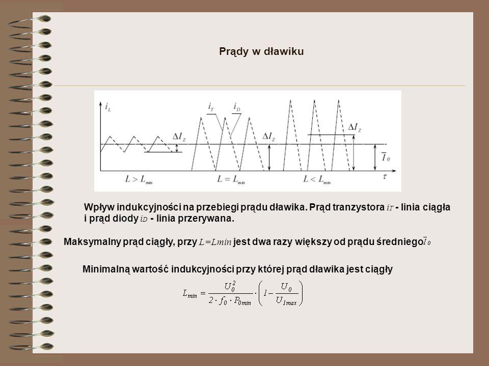 Prądy w dławiku Wpływ indukcyjności na przebiegi prądu dławika. Prąd tranzystora i T - linia ciągła i prąd diody i D - linia przerywana. Minimalną war