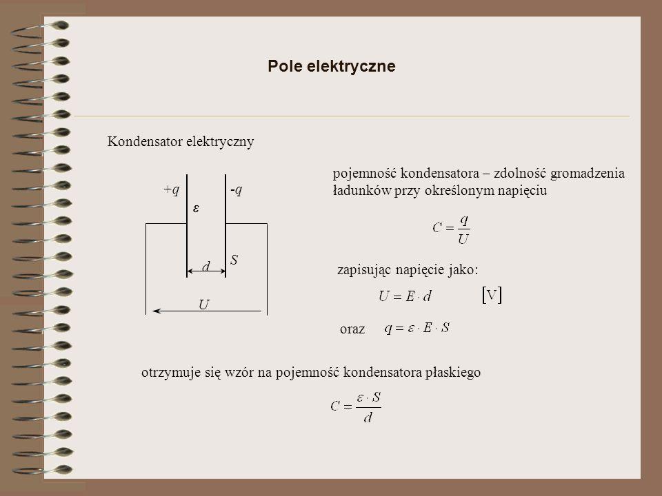 Energia pola elektrycznego U q q1q1 U1U1 q2q2 U2U2 Przy stałej pojemności wzrost nagromadzonych ładunków powoduje wzrost napięcia, co powoduje zmianę energetyczną kondensatora Podstawiając za otrzymujemy lub podając w jednostce objętości