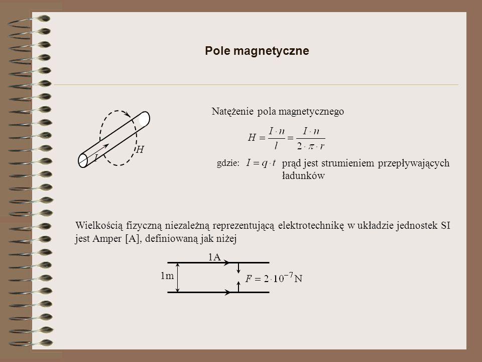Siły w polu magnetycznym I B S N F Siła działająca na przewodnik z prądem w polu magnetycznym Jednostką indukcji magnetycznej B jest gdzie B indukcja magnetyczne może być wytworzona pomiędzy biegunami magnesu lub wokół przewodnika wiodącego prąd.