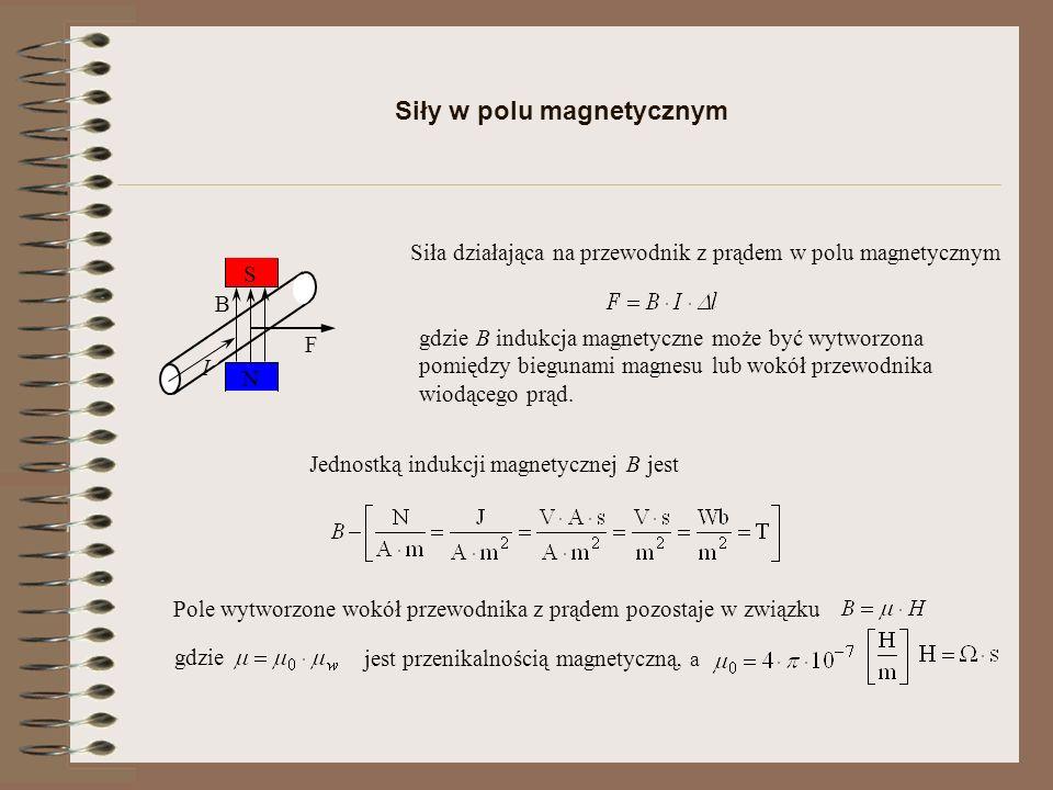 Pole magnetyczne h S H Cewka elektryczna – pojęcie indukcyjności oraz strumień skojarzony z n zwojami Określają indukcyjność cewki Strumień magnetyczny od pojedynczego zwoju a po podstawieniu zależności na strumień skojarzony i prąd od natężenia pola magnetycznego otrzymujemy