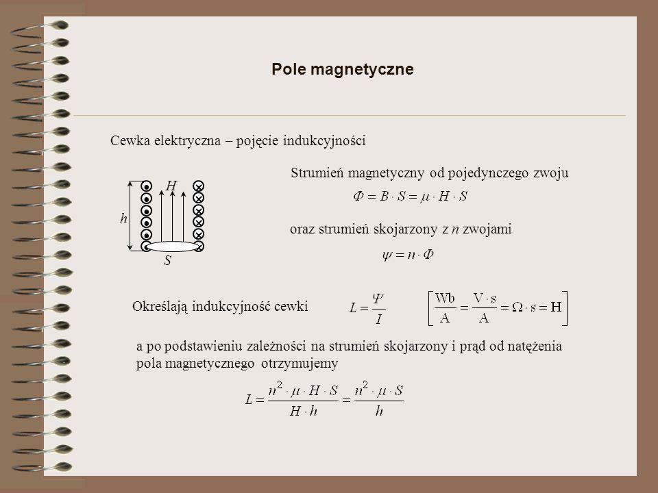 Energia pola magnetycznego I ψ ψ1ψ1 I1I1 ψ2ψ2 I2I2 Przy stałej indukcyjności wzrost przepływających ładunków powoduje wzrost prądu, co powoduje zmianę energetyczną cewki Podstawiając za otrzymujemy lub podając w jednostce objętości