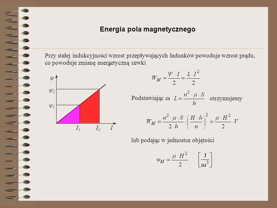 Rezystancja I l ρ S ustala związek pomiędzy napięciem i prądem Energia pola elektromagnetycznego tracona na rezystancji lub dla źródeł napięciowych prądu stałego Wprowadzając pojęcie gęstości prądu otrzymujemy inną postać zależności na energię lub podając w jednostce objętości Chwilową wartość energii nazywamy mocą lub mocą objętościową która dla odbiornika rezystancyjnego wynosi