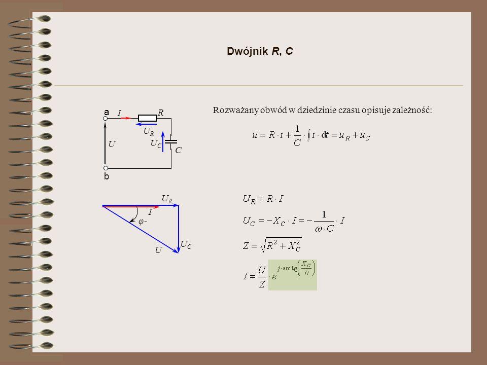 Dwójnik R, C C R U a b I URUR UCUC Rozważany obwód w dziedzinie czasu opisuje zależność: I URUR UCUC U φ-