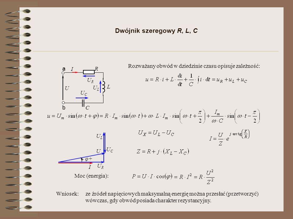Dwójnik szeregowy R, L, C R U a b I C L Rozważany obwód w dziedzinie czasu opisuje zależność: ULUL URUR UCUC I URUR ULUL U φ+ UCUC Wniosek: ze źródeł napięciowych maksymalną energię można przesłać (przetworzyć) wówczas, gdy obwód posiada charakter rezystancyjny.