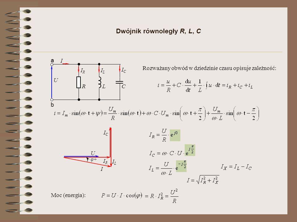 Dwójnik równoległy R, L, C I R U a b C L IRIR ILIL ICIC U IRIR ILIL I φ+ ICIC Rozważany obwód w dziedzinie czasu opisuje zależność: Moc (energia):