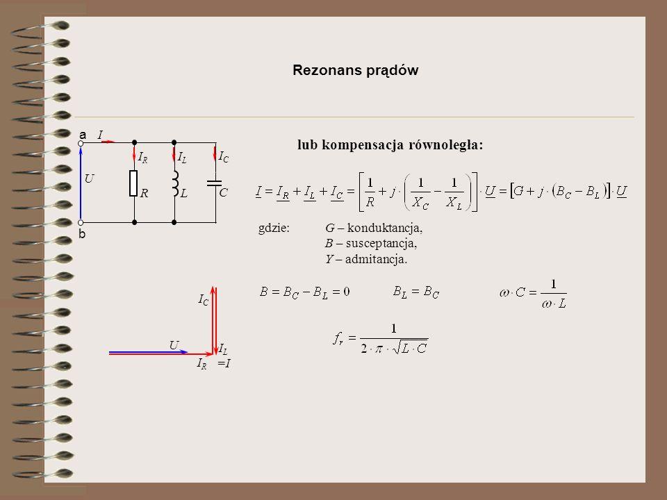 Rezonans prądów gdzie: G – konduktancja, B – susceptancja, Y – admitancja.