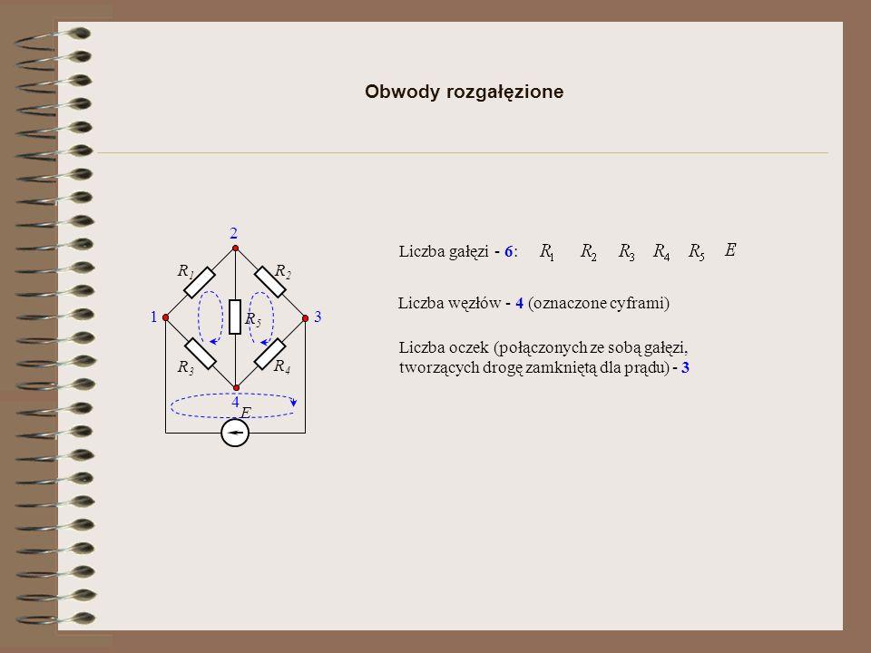 Obwody rozgałęzione E R1R1 R2R2 R3R3 R4R4 R5R5 Liczba gałęzi - 6: Liczba węzłów - 4 (oznaczone cyframi) 1 2 4 3 Liczba oczek (połączonych ze sobą gałę