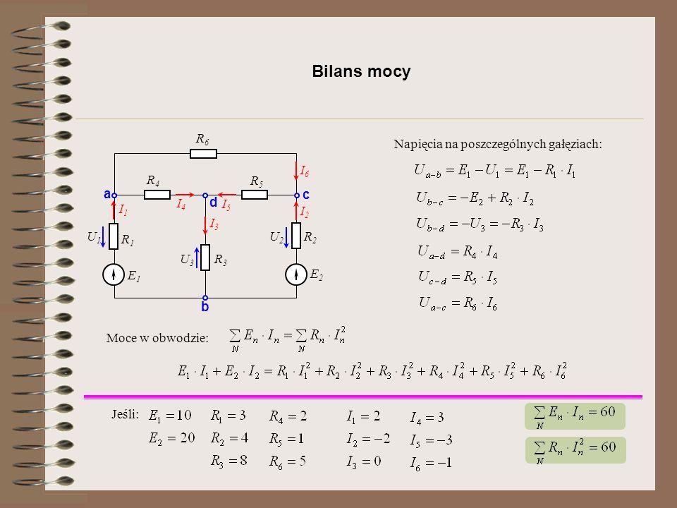 Bilans mocy R1R1 E1E1 R2R2 R3R3 R4R4 R5R5 R6R6 E2E2 a b c d I1I1 I2I2 I6I6 I5I5 I4I4 I3I3 U1U1 U2U2 U3U3 Napięcia na poszczególnych gałęziach: Moce w