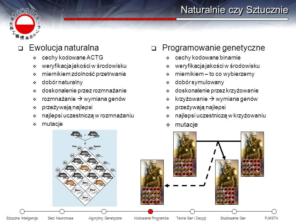 Sztuczna InteligencjaSieci NeuronoweTeoria Gier i DecyzjiHodowanie ProgramówAlgorytmy GenetyczneStudiowanie GierPJWSTK Naturalnie czy Sztucznie Ewoluc