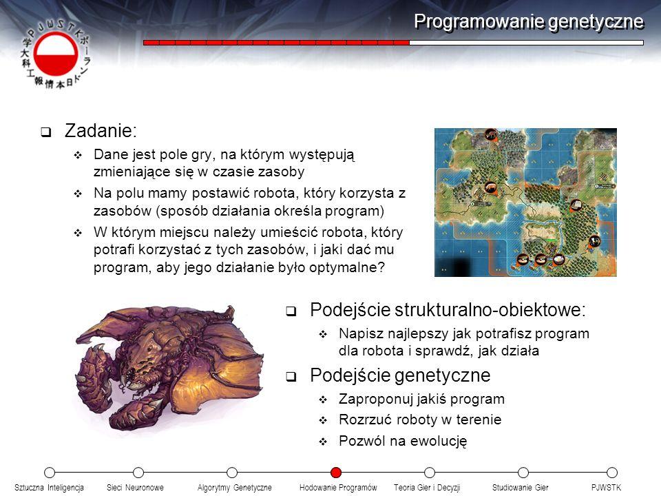 Sztuczna InteligencjaSieci NeuronoweTeoria Gier i DecyzjiHodowanie ProgramówAlgorytmy GenetyczneStudiowanie GierPJWSTK Programowanie genetyczne Zadani