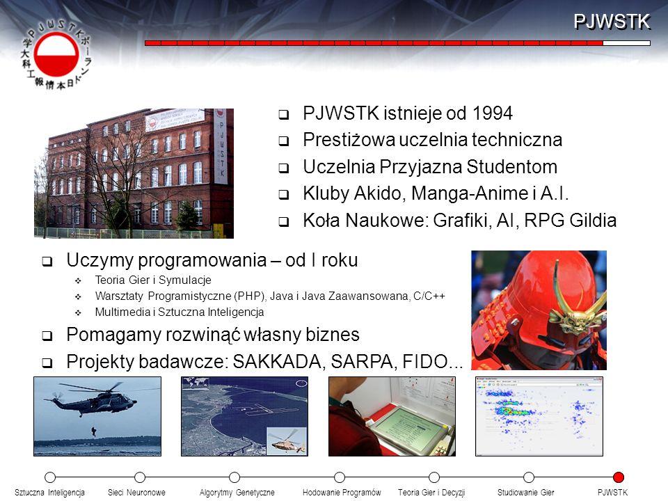 Sztuczna InteligencjaSieci NeuronoweTeoria Gier i DecyzjiHodowanie ProgramówAlgorytmy GenetyczneStudiowanie GierPJWSTK PJWSTK istnieje od 1994 Prestiż