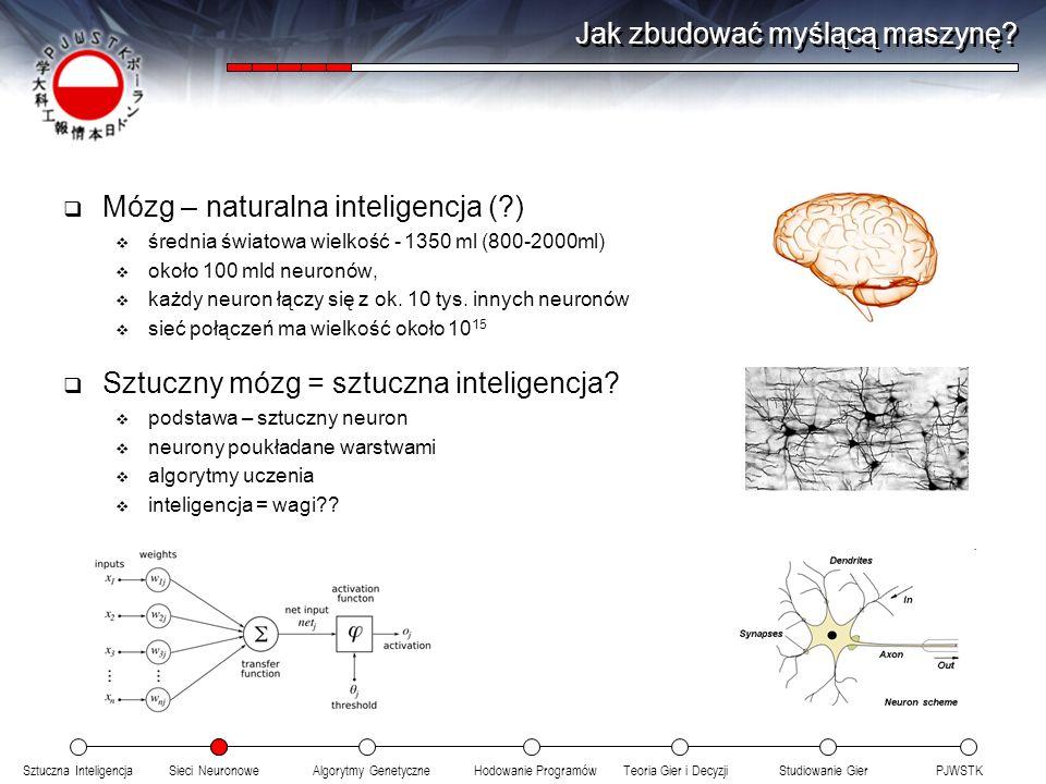 Sztuczna InteligencjaSieci NeuronoweTeoria Gier i DecyzjiHodowanie ProgramówAlgorytmy GenetyczneStudiowanie GierPJWSTK Naturalnie czy Sztucznie Ewolucja naturalna cechy kodowane ACTG weryfikacja jakości w środowisku miernikiem zdolność przetrwania dobór naturalny doskonalenie przez rozmnażanie rozmnażanie wymiana genów przeżywają najlepsi najlepsi uczestniczą w rozmnażaniu mutacje Programowanie genetyczne cechy kodowane binarnie weryfikacja jakości w środowisku miernikiem – to co wybierzemy dobór symulowany doskonalenie przez krzyżowanie krzyżowanie wymiana genów przeżywają najlepsi najlepsi uczestniczą w krzyżowaniu mutacje