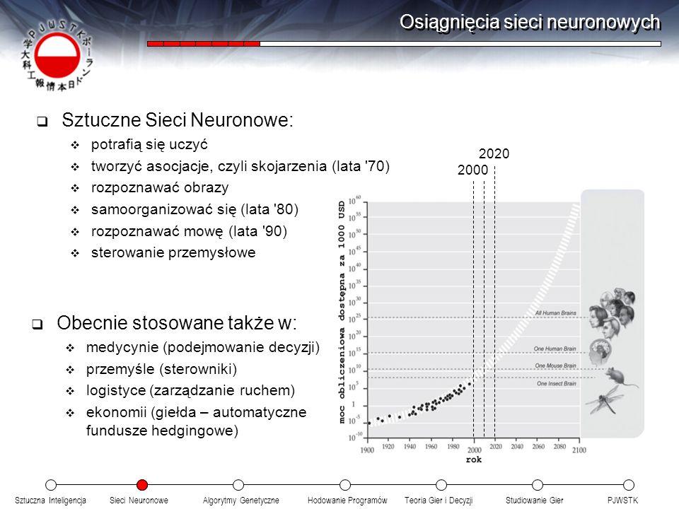 Sztuczna InteligencjaSieci NeuronoweTeoria Gier i DecyzjiHodowanie ProgramówAlgorytmy GenetyczneStudiowanie GierPJWSTK Osiągnięcia sieci neuronowych Sztuczne Sieci Neuronowe: potrafią się uczyć tworzyć asocjacje, czyli skojarzenia (lata 70) rozpoznawać obrazy samoorganizować się (lata 80) rozpoznawać mowę (lata 90) sterowanie przemysłowe Obecnie stosowane także w: medycynie (podejmowanie decyzji) przemyśle (sterowniki) logistyce (zarządzanie ruchem) ekonomii (giełda – automatyczne fundusze hedgingowe) 2000 2020