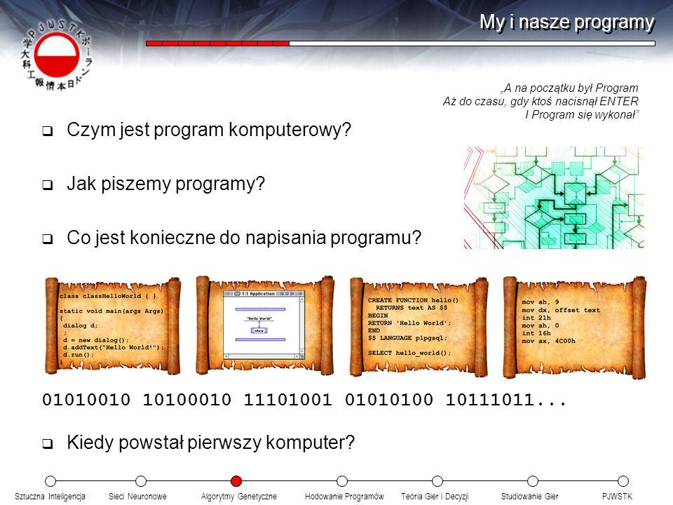 Sztuczna InteligencjaSieci NeuronoweTeoria Gier i DecyzjiHodowanie ProgramówAlgorytmy GenetyczneStudiowanie GierPJWSTK My i nasze programy Czym jest program komputerowy.