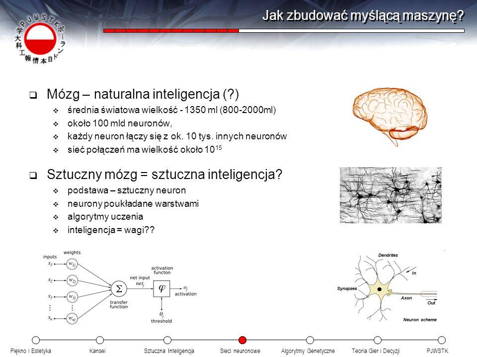 Piękno i EstetykaKanseiAlgorytmy GenetyczneSieci neuronowePJWSTKTeoria Gier i DecyzjiSztuczna Inteligencja Jak zbudować myślącą maszynę? Mózg – natura