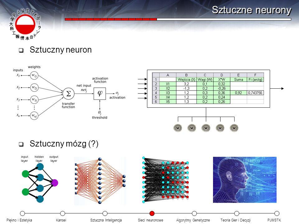 Piękno i EstetykaKanseiAlgorytmy GenetyczneSieci neuronowePJWSTKTeoria Gier i DecyzjiSztuczna Inteligencja Sztuczne neurony Sztuczny neuron Sztuczny m