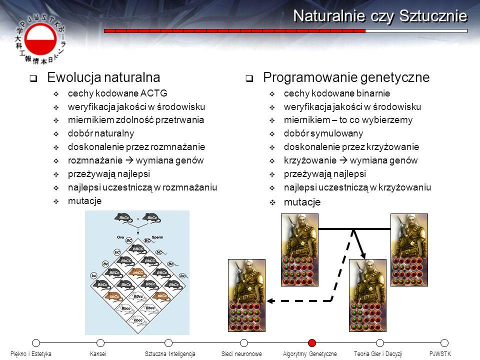Piękno i EstetykaKanseiAlgorytmy GenetyczneSieci neuronowePJWSTKTeoria Gier i DecyzjiSztuczna Inteligencja Naturalnie czy Sztucznie Ewolucja naturalna