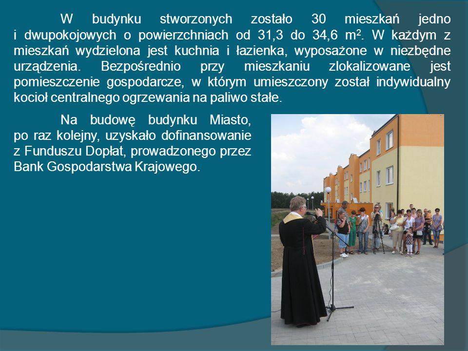W budynku stworzonych zostało 30 mieszkań jedno i dwupokojowych o powierzchniach od 31,3 do 34,6 m 2. W każdym z mieszkań wydzielona jest kuchnia i ła