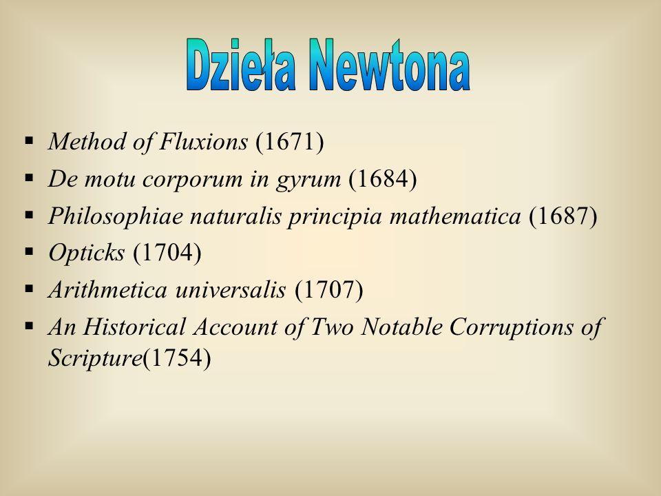 Method of Fluxions (1671) De motu corporum in gyrum (1684) Philosophiae naturalis principia mathematica (1687) Opticks (1704) Arithmetica universalis