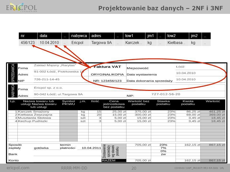 ericpol.com RRRR-MM-DD 20 COMPANY/UNIT_PROJECT/PRS-RR:NNN UPL Projektowanie baz danych – 2NF i 3NF nrdata..nabywcaadres..tow1jm1..tow2jm2.. 456/12310.