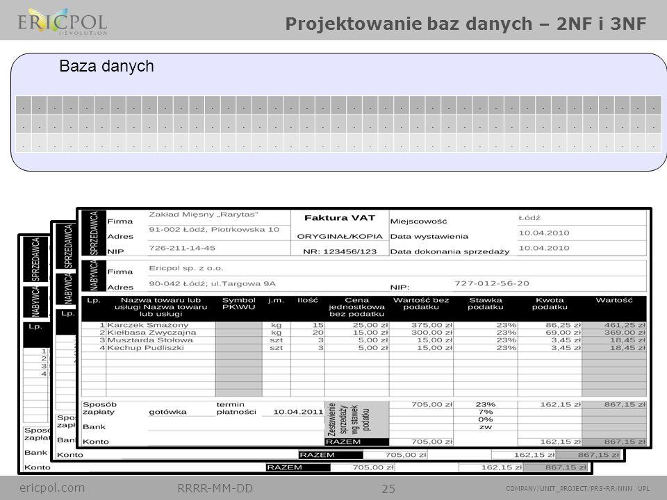 ericpol.com RRRR-MM-DD 25 COMPANY/UNIT_PROJECT/PRS-RR:NNN UPL Projektowanie baz danych – 2NF i 3NF....................................................