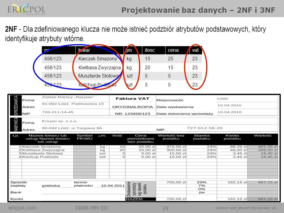 ericpol.com RRRR-MM-DD 29 COMPANY/UNIT_PROJECT/PRS-RR:NNN UPL Projektowanie baz danych – 2NF i 3NF nrtowarjmilosccenavat 456/123Karczek Smażonykg15252