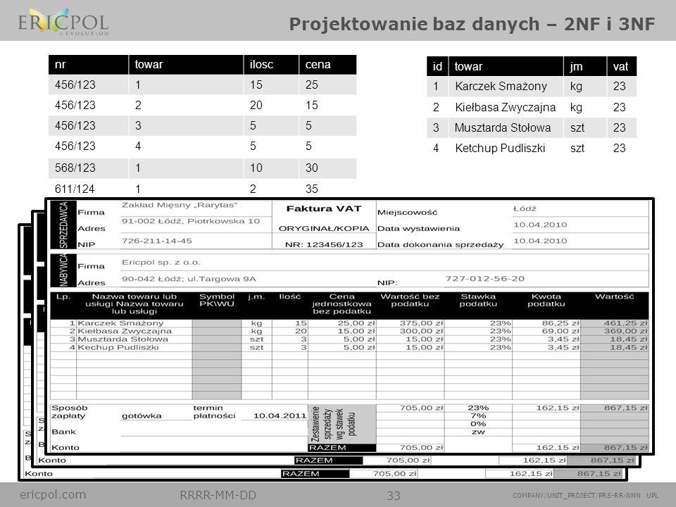 ericpol.com RRRR-MM-DD 33 COMPANY/UNIT_PROJECT/PRS-RR:NNN UPL Projektowanie baz danych – 2NF i 3NF nrtowarilosccena 456/12311525 456/12322015 456/1233