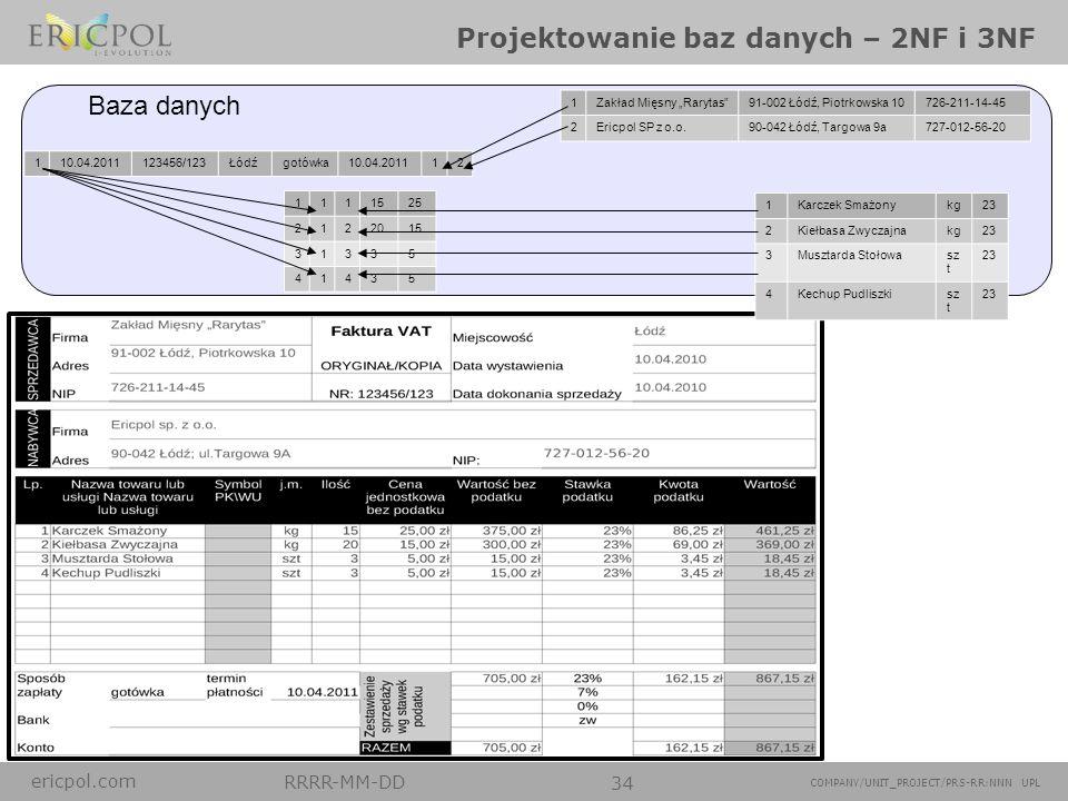 ericpol.com RRRR-MM-DD 34 COMPANY/UNIT_PROJECT/PRS-RR:NNN UPL Projektowanie baz danych – 2NF i 3NF 1Zakład Mięsny Rarytas91-002 Łódź, Piotrkowska 1072