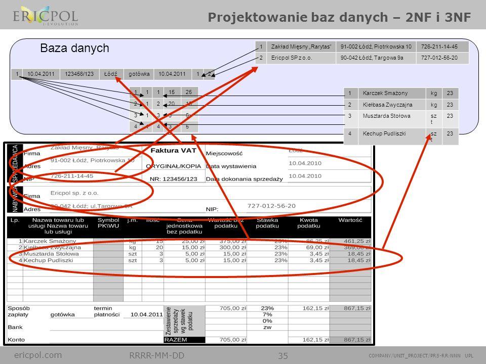 ericpol.com RRRR-MM-DD 35 COMPANY/UNIT_PROJECT/PRS-RR:NNN UPL Projektowanie baz danych – 2NF i 3NF 1Zakład Mięsny Rarytas91-002 Łódź, Piotrkowska 1072