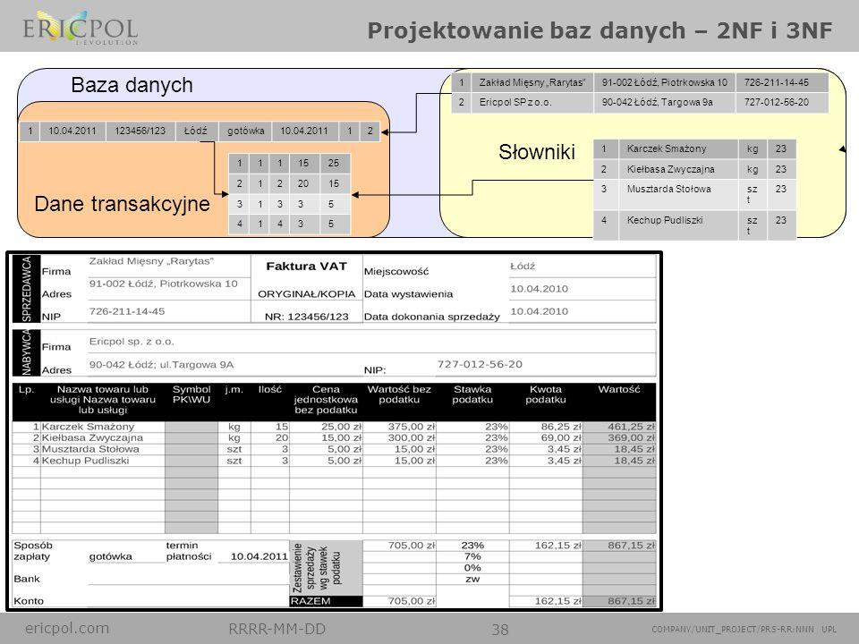 ericpol.com RRRR-MM-DD 38 COMPANY/UNIT_PROJECT/PRS-RR:NNN UPL Projektowanie baz danych – 2NF i 3NF 1Zakład Mięsny Rarytas91-002 Łódź, Piotrkowska 1072