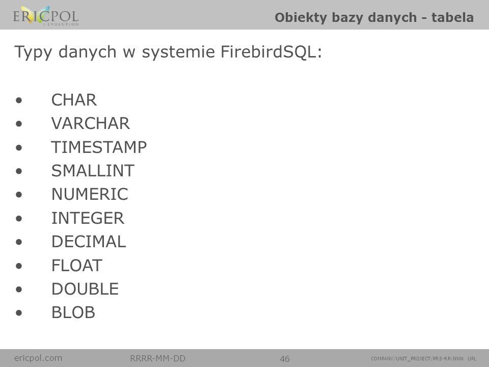 ericpol.com RRRR-MM-DD 46 COMPANY/UNIT_PROJECT/PRS-RR:NNN UPL Obiekty bazy danych - tabela CREATE TABLE users ( idint, name varchar(100), lastNamevarc