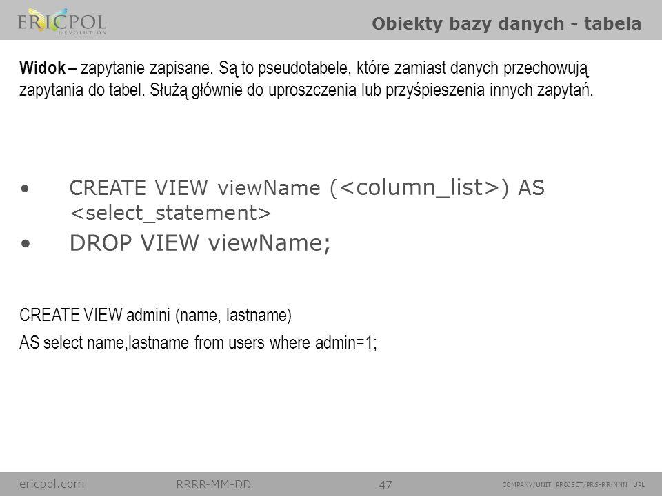 ericpol.com RRRR-MM-DD 47 COMPANY/UNIT_PROJECT/PRS-RR:NNN UPL Obiekty bazy danych - tabela CREATE TABLE users ( idint, name varchar(100), lastNamevarc