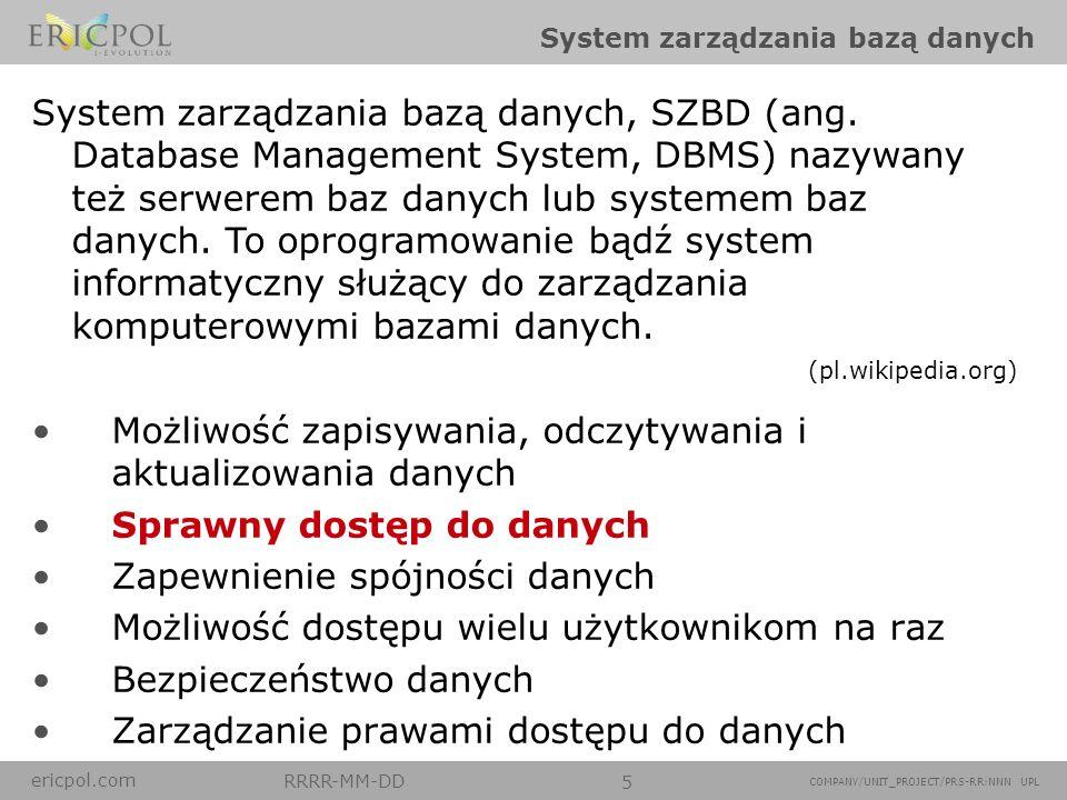 ericpol.com RRRR-MM-DD 5 COMPANY/UNIT_PROJECT/PRS-RR:NNN UPL System zarządzania bazą danych Możliwość zapisywania, odczytywania i aktualizowania danyc
