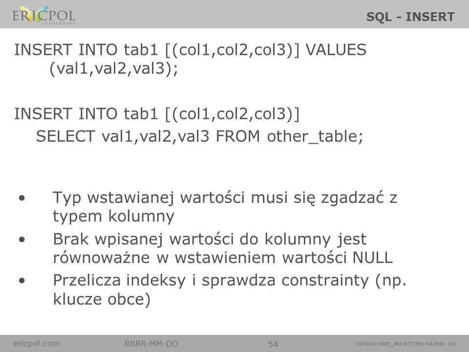 ericpol.com RRRR-MM-DD 54 COMPANY/UNIT_PROJECT/PRS-RR:NNN UPL SQL - INSERT Typ wstawianej wartości musi się zgadzać z typem kolumny Brak wpisanej wart