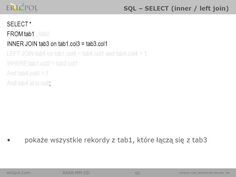 ericpol.com RRRR-MM-DD 60 COMPANY/UNIT_PROJECT/PRS-RR:NNN UPL SQL – SELECT (inner / left join) pokaże wszystkie rekordy z tab1, które łączą się z tab3