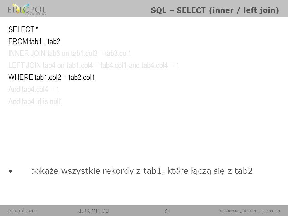ericpol.com RRRR-MM-DD 61 COMPANY/UNIT_PROJECT/PRS-RR:NNN UPL SQL – SELECT (inner / left join) pokaże wszystkie rekordy z tab1, które łączą się z tab2