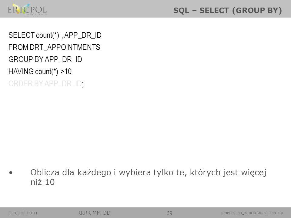 ericpol.com RRRR-MM-DD 69 COMPANY/UNIT_PROJECT/PRS-RR:NNN UPL SQL – SELECT (GROUP BY) Oblicza dla każdego i wybiera tylko te, których jest więcej niż