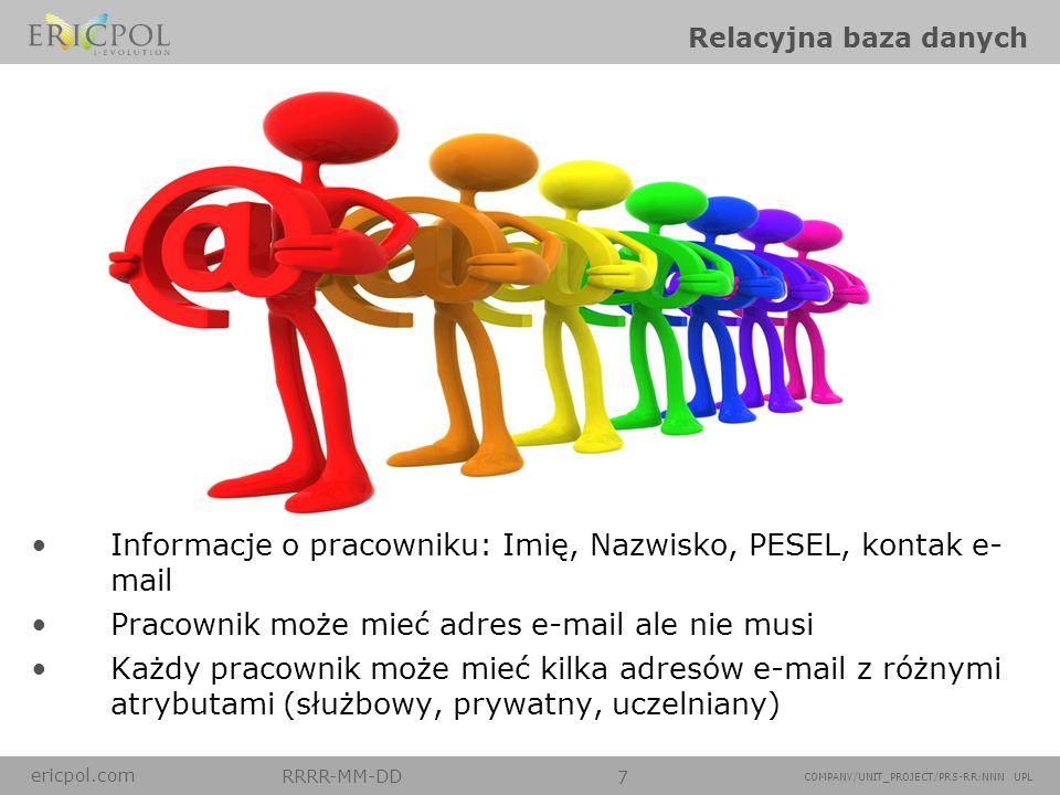 ericpol.com RRRR-MM-DD 7 COMPANY/UNIT_PROJECT/PRS-RR:NNN UPL Relacyjna baza danych Informacje o pracowniku: Imię, Nazwisko, PESEL, kontak e- mail Prac