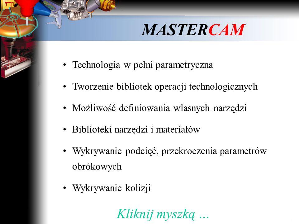 MASTERCAM Pełne powiązanie modeli CAD i CAM Kliknij myszką …