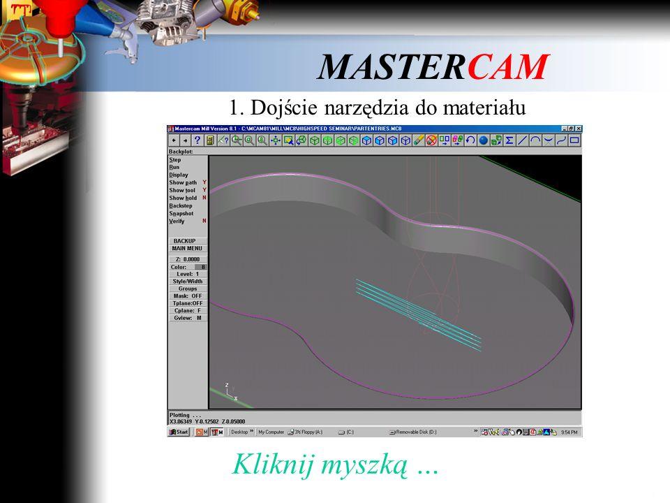 MASTERCAM Trzy istotne dla HSM problemy ruchu narzędzia: 1. Dojście narzędzia do materiału 2. Kształt toru ruchu narzędzia w trakcie obróbki 3. Przejś