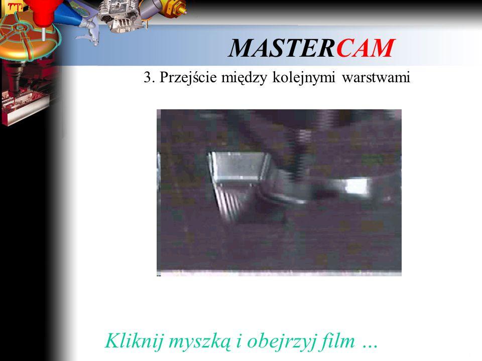MASTERCAM 3. Przejście między kolejnymi warstwami Kliknij myszką dalej …